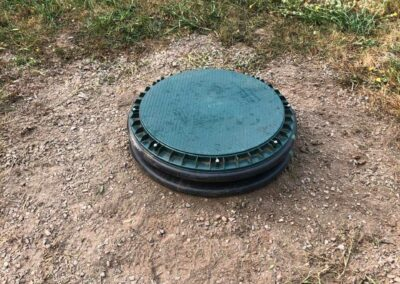 Septic tank lid riser installation complete